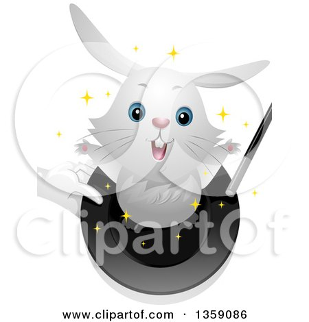 Clipart of a Cute White Bunny Rabbit Hopping out of a Magicians Hat - Royalty Free Vector Illustration by BNP Design Studio