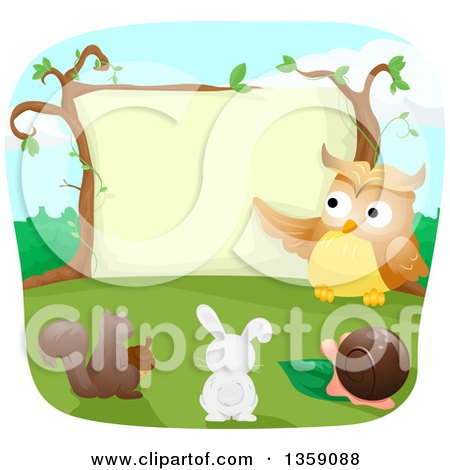 Clipart of a Teacher Owl Instructing a Squirrel, Rabbit and Snail - Royalty Free Vector Illustration by BNP Design Studio