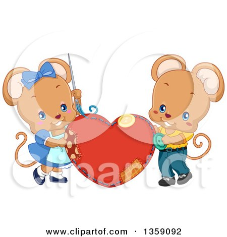 Clipart of a Cute Mouse Couple Sewing a Heart Cushion - Royalty Free Vector Illustration by BNP Design Studio