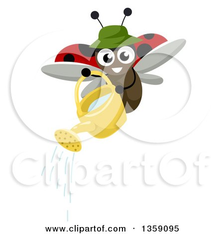 Clipart of a Gardener Lady Bug Using a Watering Can - Royalty Free Vector Illustration by BNP Design Studio