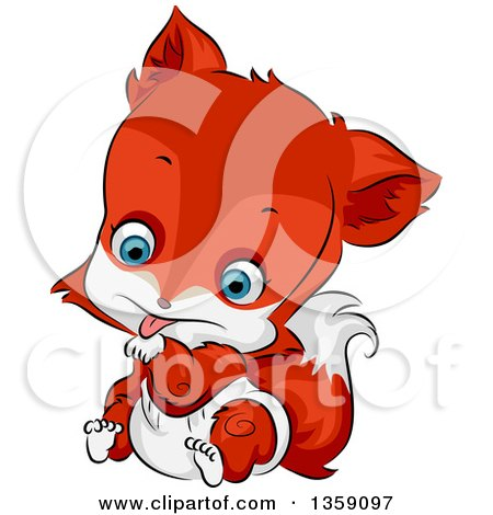Clipart Of A Cute Baby Fox In A Diaper Licking His Paw Royalty Free Vector Illustration