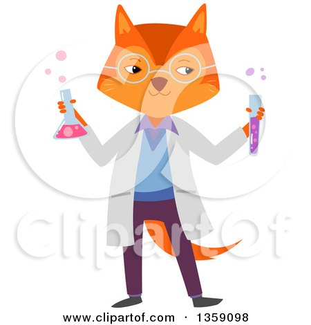 Clipart of a Fox Scientist Holding Bubbly Chemicals - Royalty Free Vector Illustration by BNP Design Studio