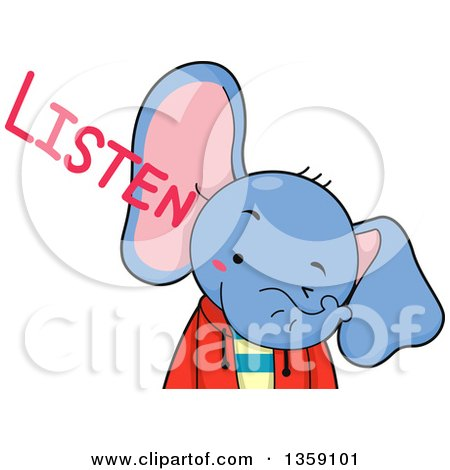 Clipart of a Cute Elephant Boy with Listen Text - Royalty Free Vector Illustration by BNP Design Studio
