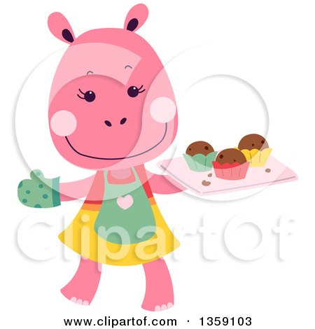 Clipart of a Happy Pink Hippo Baker with a Tray of Muffins - Royalty Free Vector Illustration by BNP Design Studio