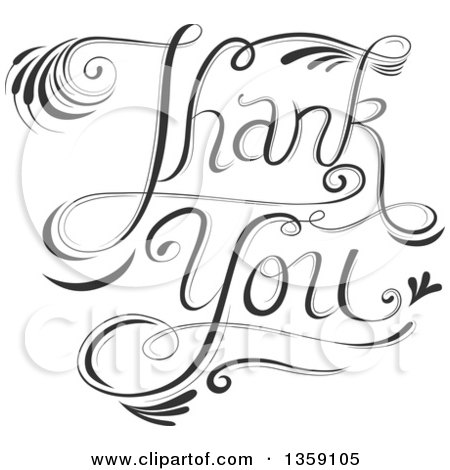 Clipart Of Black And White Fancy Calligraphic Thank You Text