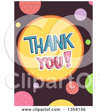 Clipart of Thank You Text and Colorful Dots on Brown - Royalty Free Vector Illustration by BNP Design Studio