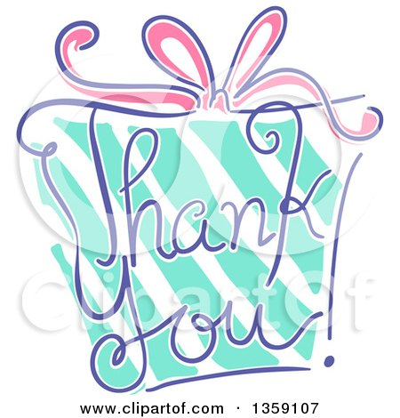 Clipart of a Sketched Gift with Thank You Text - Royalty Free Vector Illustration by BNP Design Studio