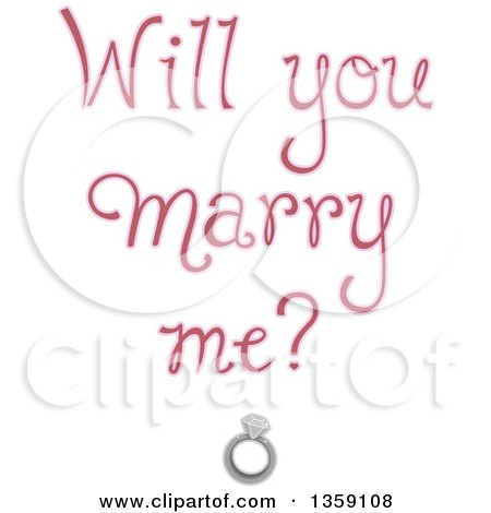 Clipart of Soft Purple Will You Marry Me Text over a Diamond Ring - Royalty Free Vector Illustration by BNP Design Studio