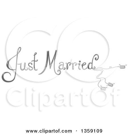 Clipart of Grayscale Just Married Text with Cans - Royalty Free Vector Illustration by BNP Design Studio