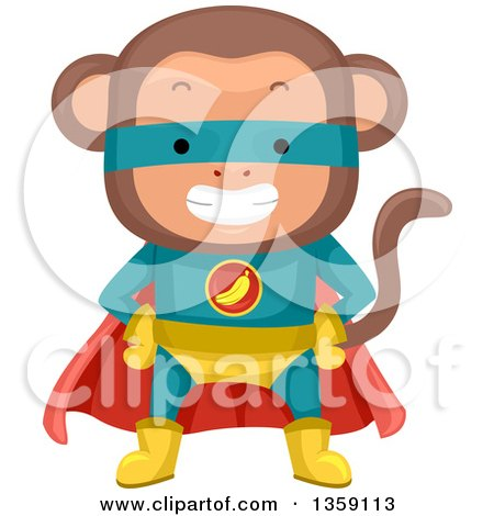 Clipart of a Grinning Monkey Super Hero - Royalty Free Vector Illustration by BNP Design Studio
