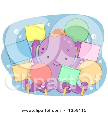 Clipart of a Cute Purple Octopus Holding Colorful Blank Signs - Royalty Free Vector Illustration by BNP Design Studio