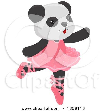 Clipart of a Cute Dancing Panda Ballerina - Royalty Free Vector Illustration by BNP Design Studio