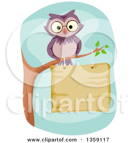 Clipart of a Purple Owl Perched on a Branch over a Wood Sign - Royalty Free Vector Illustration by BNP Design Studio