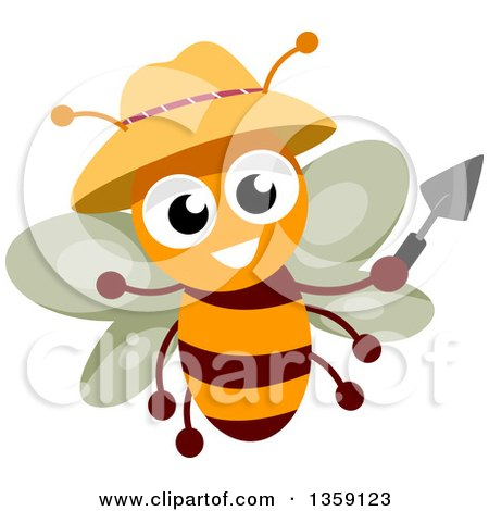 Clipart of a Happy Gardener Bee Holding a Trowel and Wearing a Hat - Royalty Free Vector Illustration by BNP Design Studio