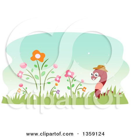 Clipart of a Happy Earthworm Wearing a Hat in a Flower Garden - Royalty Free Vector Illustration by BNP Design Studio
