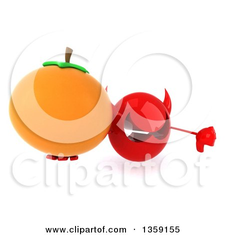 Clipart of a 3d Red Devil Head Holding up a Navel Orange and Thumb Down, on a White Background - Royalty Free Illustration by Julos