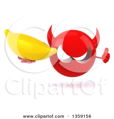 Clipart of a 3d Red Devil Head Holding a Banana and Giving a Thumb Up, on a White Background - Royalty Free Illustration by Julos