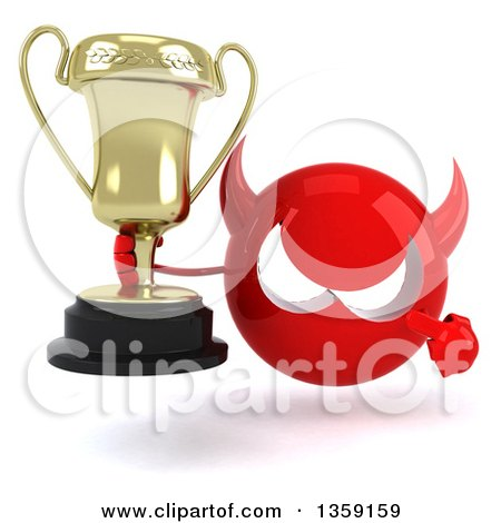 Clipart of a 3d Red Devil Head Holding and Pointing to a Trophy, on a White Background - Royalty Free Illustration by Julos