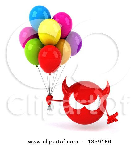 Clipart of a 3d Red Devil Head Holding Party Balloons, on a White Background - Royalty Free Illustration by Julos
