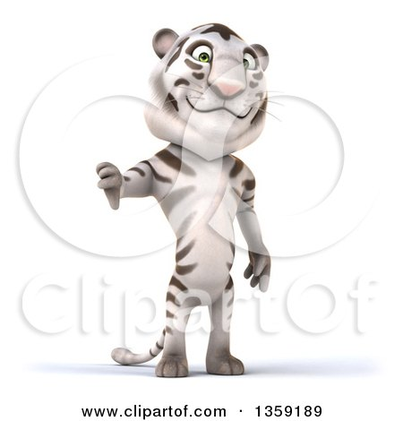 Clipart of a 3d White Tiger Giving a Thumb Down, on a White Background - Royalty Free Illustration by Julos
