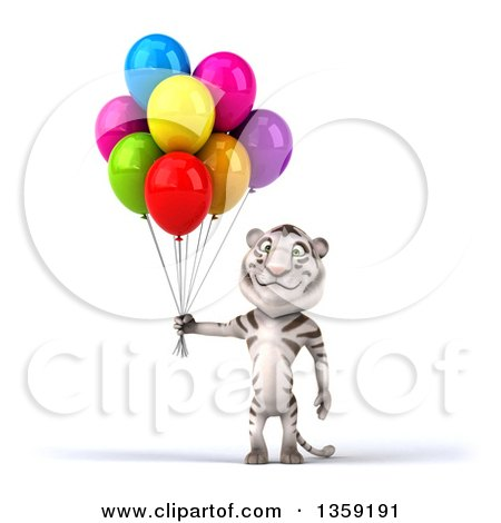 Clipart of a 3d White Tiger Holding Party Balloons, on a White Background - Royalty Free Illustration by Julos