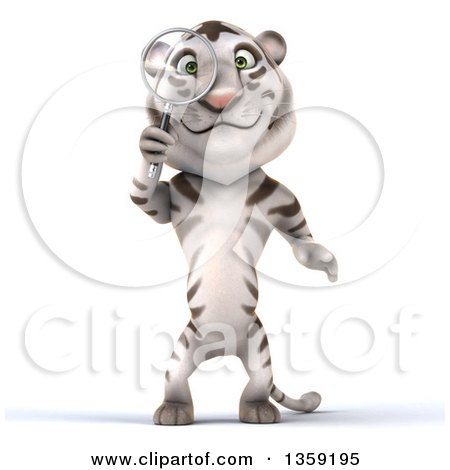 Clipart of a 3d White Tiger Searching with a Magnifying Glass, on a White Background - Royalty Free Illustration by Julos