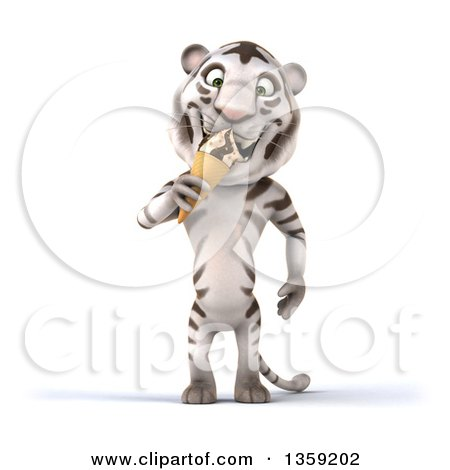 Clipart of a 3d White Tiger Eating a Waffle Ice Cream Cone, on a White Background - Royalty Free Illustration by Julos