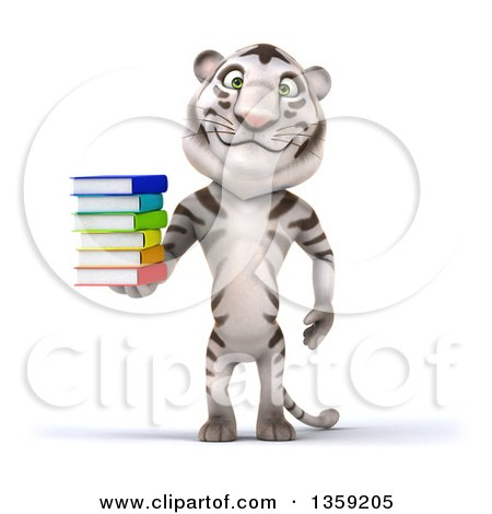 Clipart of a 3d White Tiger Holding a Stack of Books, on a White Background - Royalty Free Illustration by Julos