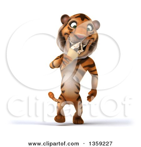Clipart of a 3d Tiger Walking and Eating a Waffle Ice Cream Cone, on a White Background - Royalty Free Illustration by Julos