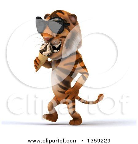 Clipart of a 3d Tiger Wearing Sunglasses, Walking and Eating a Waffle Ice Cream Cone, on a White Background - Royalty Free Illustration by Julos