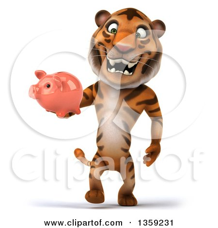 Clipart of a 3d Tiger Walking with a Piggy Bank, on a White Background - Royalty Free Illustration by Julos