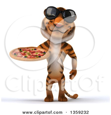 Clipart of a 3d Tiger Wearing Sunglasses and Holding a Pizza, on a White Background - Royalty Free Illustration by Julos