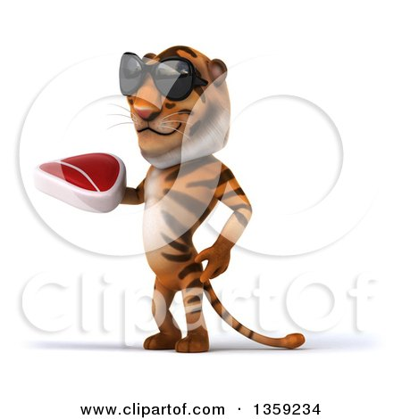 Clipart of a 3d Tiger Wearing Sunglasses and Holding a Beef Steak, on a White Background - Royalty Free Illustration by Julos