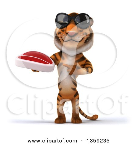 Clipart of a 3d Tiger Wearing Sunglasses, Holding and Pointing to a Beef Steak, on a White Background - Royalty Free Illustration by Julos