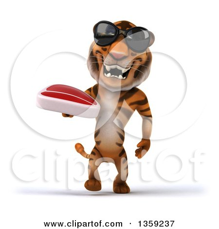 Clipart of a 3d Tiger Wearing Sunglasses, Walking and Holding a Beef Steak, on a White Background - Royalty Free Illustration by Julos