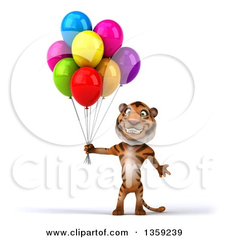 Clipart of a 3d Tiger Holding Party Balloons, on a White Background - Royalty Free Illustration by Julos