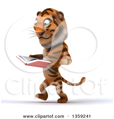 Clipart of a 3d Tiger Walking and Reading a Book, on a White Background - Royalty Free Illustration by Julos