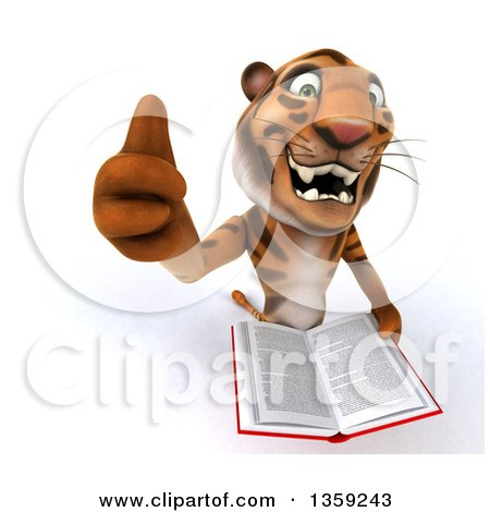 Clipart of a 3d Tiger Holding up a Thumb and a Book, on a White Background - Royalty Free Illustration by Julos