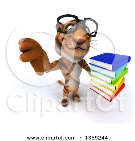 Clipart of a 3d Bespectacled Tiger Holding up a Thumb down and a Stack of Books, on a White Background - Royalty Free Illustration by Julos