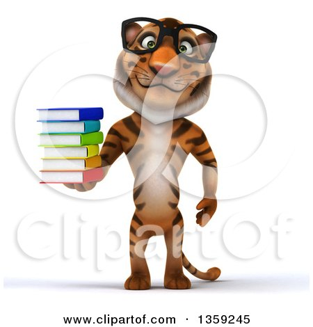 Clipart of a 3d Bespectacled Tiger Holding a Stack of Books, on a White Background - Royalty Free Illustration by Julos