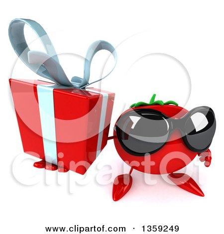 Clipart of a 3d Tomato Character Wearing Sunglasses and Holding up a Gift, on a White Background - Royalty Free Illustration by Julos