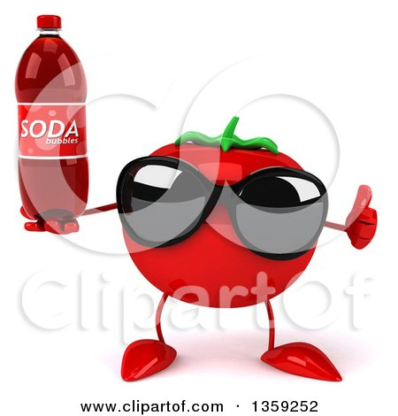 Clipart of a 3d Tomato Character Wearing Sunglasses, Giving a Thumb up and Holding a Soda Bottle, on a White Background - Royalty Free Illustration by Julos