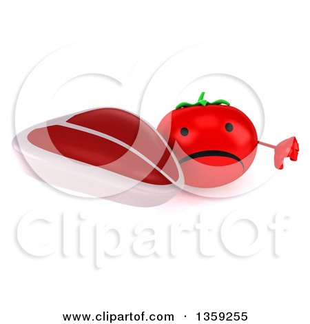 Clipart of a 3d Unhappy Tomato Character Holding up a Thumb down and a Beef Steak, on a White Background - Royalty Free Illustration by Julos
