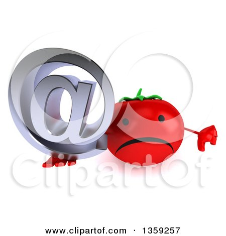 Clipart of a 3d Happy Tomato Character Holding up a Thumb down and an Email Arobase at Symbol, on a White Background - Royalty Free Illustration by Julos