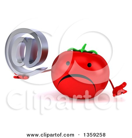 Clipart of a 3d Happy Tomato Character Shrugging and Holding an Email Arobase at Symbol, on a White Background - Royalty Free Illustration by Julos