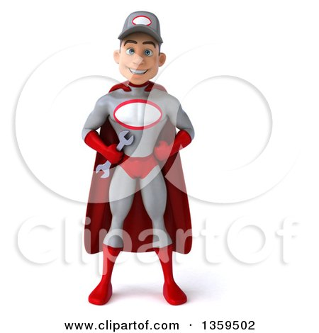 Clipart of a 3d Young White Male Super Hero Mechanic in Gray and Red, on a White Background - Royalty Free Illustration by Julos