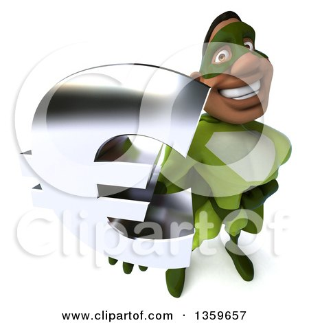 Clipart of a 3d Flying Buff Male Black Super Hero in Green, Holding up a Euro Currency Symbol, on a White Background - Royalty Free Illustration by Julos