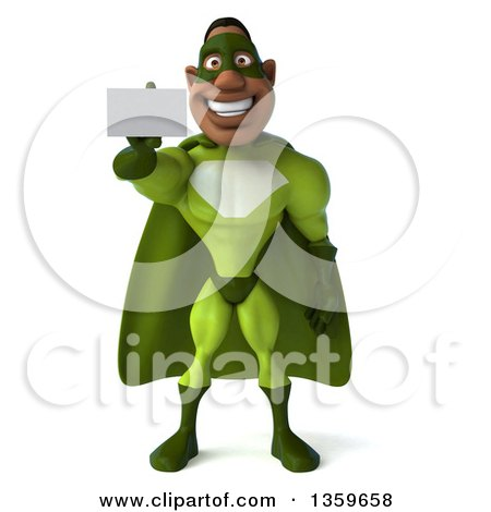 Clipart of a 3d Flying Buff Male Black Super Hero in Green, Holding out a Business Card, on a White Background - Royalty Free Illustration by Julos