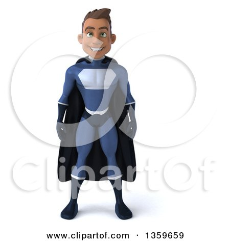 Clipart of a 3d Young Indian Male Super Hero in a Dark Blue Suit, on a White Background - Royalty Free Illustration by Julos