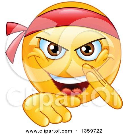 Clipart of a Cartoon Yellow Smiley Emoticon Emoji Doing a Karate Chop - Royalty Free Vector Illustration by yayayoyo